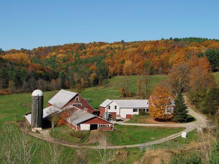 A classic Vermont farm in the fall Archivio Fotografico