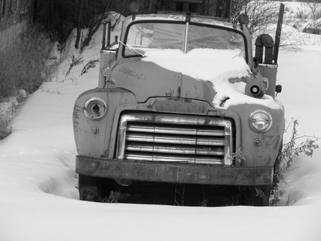 Old firetruck in black and white photo