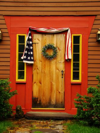 Old wooden door on an old colonial home Archivio Fotografico