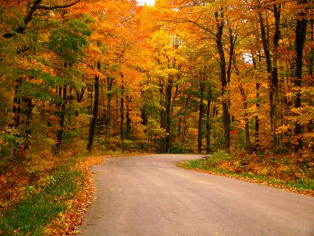 dirt: A country road in the fall Stock Photo