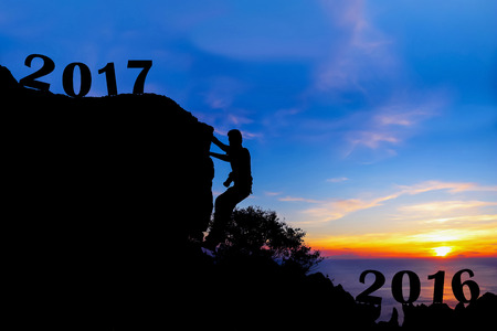 next year: New year 2017 with photographer climbing mountain background