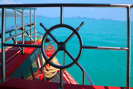 ship bow: Stainless steel railing of the boat tours.