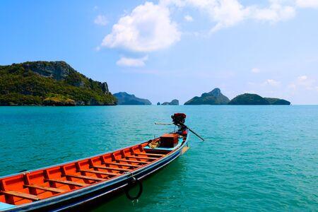 long-tail boat at ang thong island. Stock Photo