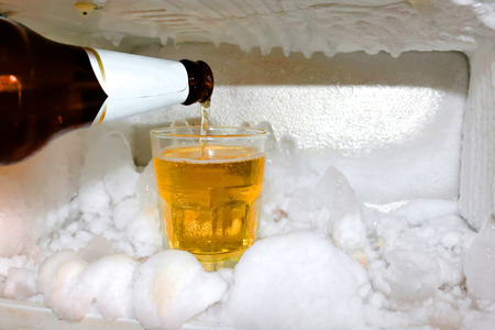 frosty: A glass of beer in the refrigerator.