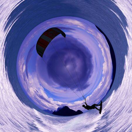 kiteboarding: Kiteboarding with sea island and cloud blue sky. Circle design image.