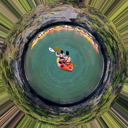 Kayaking on the island.Circle design image of Ang Thong archipelago,Thailand.