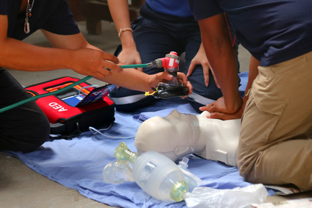 Rescue and CPR training to first aid and life guard in Thailand. Archivio Fotografico