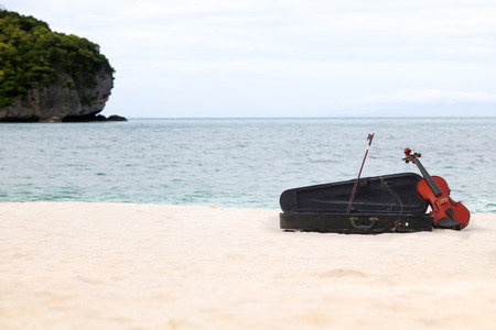 thai musical instrument: The violin on the white sandy beach by the sea in Thailand.