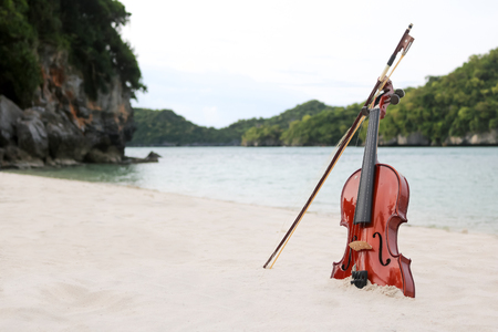 The violin on the white sandy beach by the sea in Thailand.