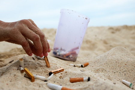 Cigarette and tobacco ashtray on the beach. Volunteer girl collecting butts and garbage on the sand. Marine pollution destructive nature Stock Photo