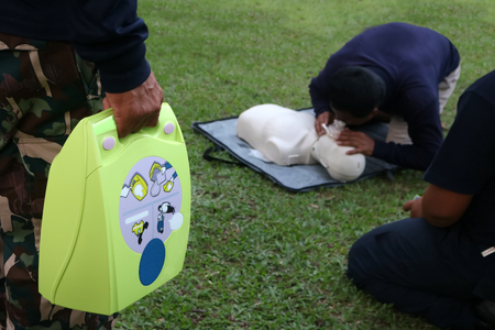CPR and AED, Automated External Defibrillator training for Rescue and first aid in Thailand.