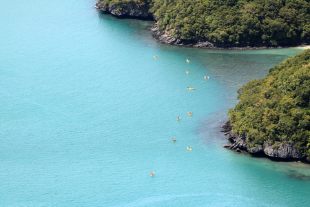 Top view of kayaking groups around the island at Ang Thong archipelago in Thailand. Stock Photo