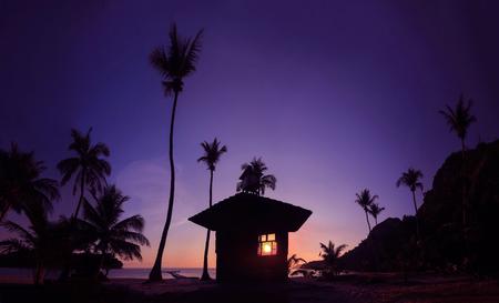 Panoramic landscape of coconut beach sunrise  early morning at Mu Ko Ang Thong Thailand