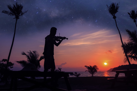 Local musicians, Asian man playing violin on the coconut beach with million stars galaxy, Silhouette artist on purple sky background. Standard-Bild