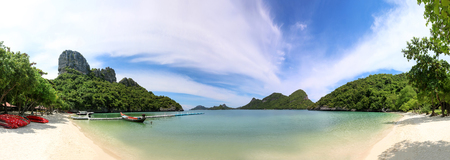 Panorama of islands view, sand beach and blue sky at archipelago island Ang Thong Thailand,