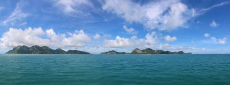 Panorama views of tropical islands against the blue sky at Ang Thong archipelago at Samui, Thailand