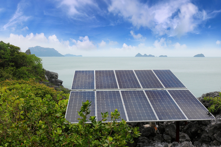Solar panel or Photovoltaics module installed on the top of the mountain on the island in Thailand.