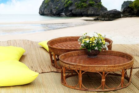 Seating comfort for the tourists on the tropical beach in Thailand.