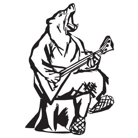growling: The bear plays a balalaika Illustration
