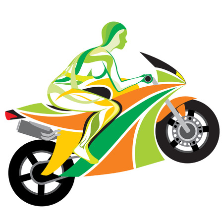 The girl on a motorcycle Vector
