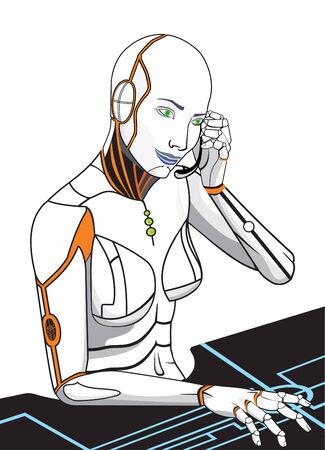 The secretary future/vector the woman the robot Stock Vector - 6522274