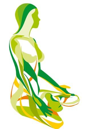 YOGA meisjes, vormen een lotus  Vector Illustratie