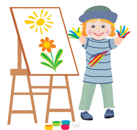 canvas painting: The cheerful child draws hands flowers Illustration