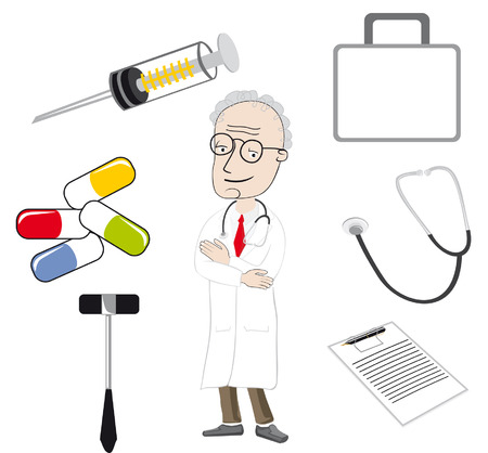 The doctor and medical tools Stock Vector - 7033944