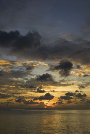 colour intensity: Sunset over a Maldivian Lagoon