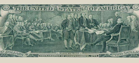 The reverse side of a two-dollar bill. Reproduction of a painting depicting the adoption of the Declaration of independence
