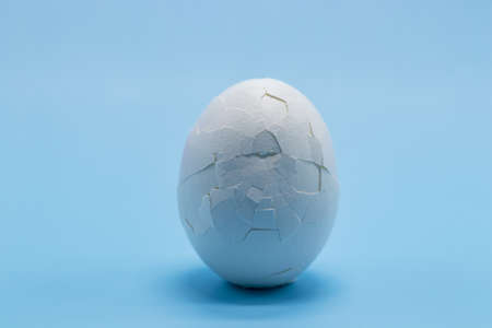 A white boiled egg with a cracked shell close-up on a blue background. Free space. Cracked eggshell. The concept of fragility, damage, violation of integrity