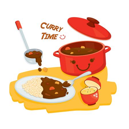 Leuke illustratievector voor Curry-rijstmenu. Stock Illustratie