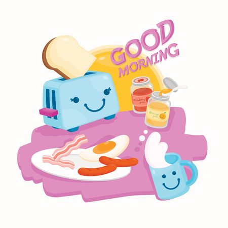 Cute illustration vector for Breakfast menu. Illustration