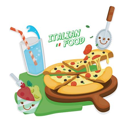 Cute illustrate vector for Italian food menu. Illustration