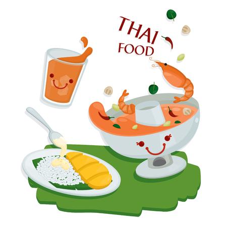 Cute illustrate vector for Thai food menu.