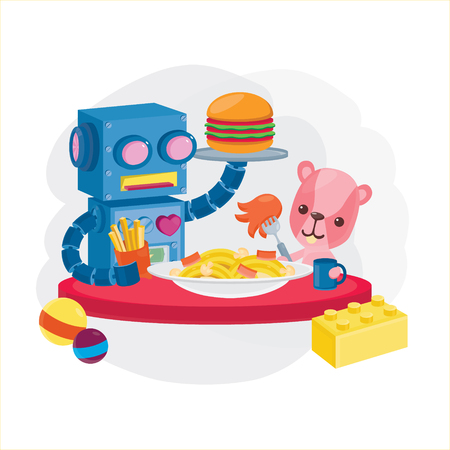 Robot and Bear doll have lunch menu with burger,spaghetti and french fries in cartoon character illustration.