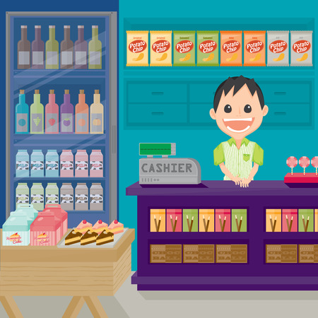 merchant: Supermarket store with happy staff icon in cartoon character illustration.