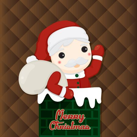 christmas gift: Christmas illustration with cute elements on brown background.
