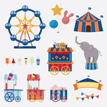Circus collection with carnival, fun fair. Vector icons and background and illustration collection.