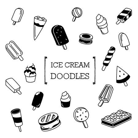 Ice Cream Doodle, Hand-tekening stijlen van ijs. Stock Illustratie