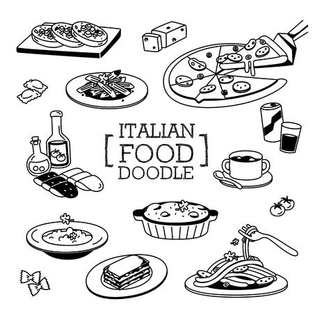 イタリア料理の落書き、イタリア料理の手の描画スタイル。