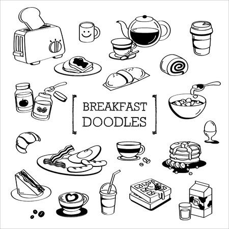 Breakfast menu Doodle, Hand drawing styles of Breakfast menu. Illustration