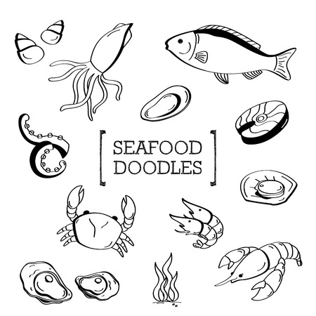 Seafood Doodle, Hand drawing styles of seafood.
