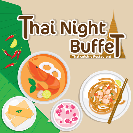 Illustration vector of Thai food.