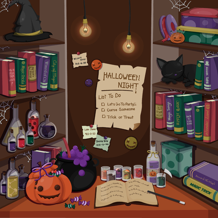 Halloween scene.Room of Halloween with several stuff. Illustration
