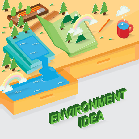 Vector illustration of desk with green environment. Иллюстрация