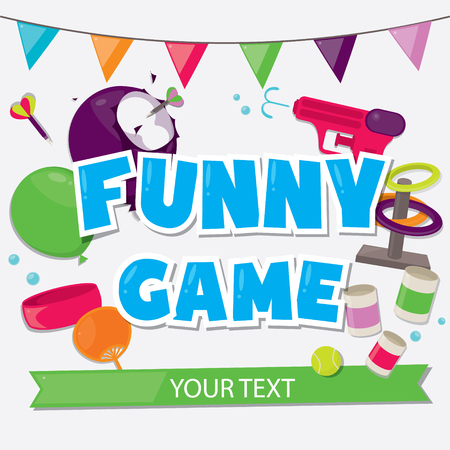 Several activity for Funny game design poster. Illustration