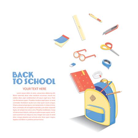 学校のテンプレートに戻す教育背景デザイン。カラフルなベクトルの原料。  イラスト・ベクター素材