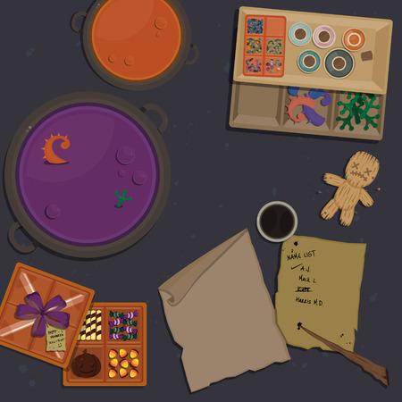 Bovenaanzicht van Witch's Table voor Halloween Night. Vector illustratie