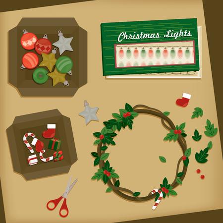 Hoogste mening van de lijst van de Kerstmisdecoratie. Vector illustratie